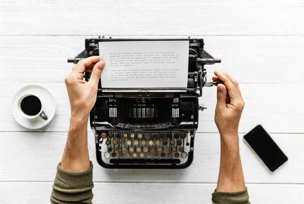 Picture of typewriter with content